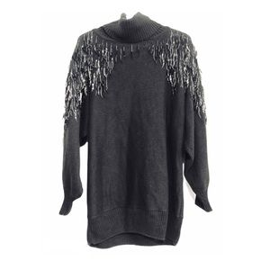 Vntg 80s Angel Wing Sweater Sparkly Adornments L